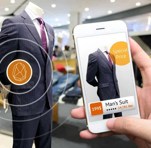 suit in store windows and cell phone, as example of AR shopping and to visualize the future in ecommerce