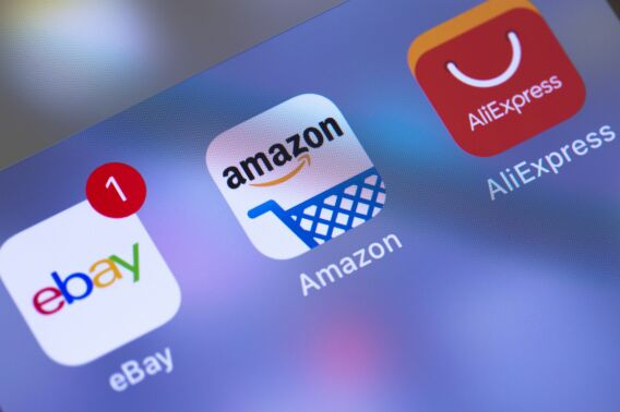 app icons of the ebay, amazon and alibaba to visualize that ecommerce should be more then selling on large shopping platforms