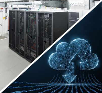 image of the server racks and abstract cloud image to visualize that you can and should have on premise it and cloud services peacefully side by side