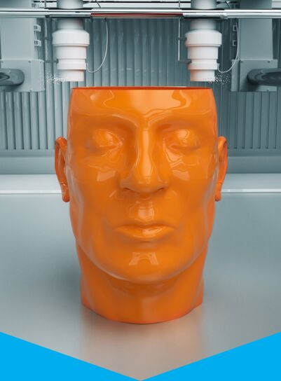 orange 3d printed head, as example for digital business processes